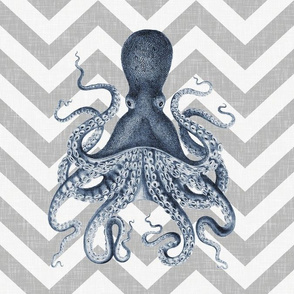 Octopus Oasis on Gray Chevron