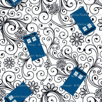 Blue Phone Boxes and Black Swirls on White - Small Swirls