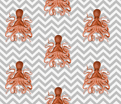 Coral Octopus Chevron fabric by willowlanetextiles on Spoonflower - custom fabric