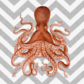 Coral Octopus Chevron