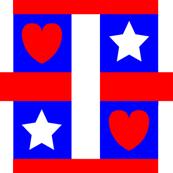 Red White Blue Heart Star