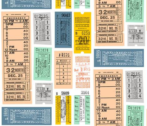 Ticket to Ride || vintage ephemera bus train subway tickets uk Europe London British fabric by pennycandy on Spoonflower - custom fabric