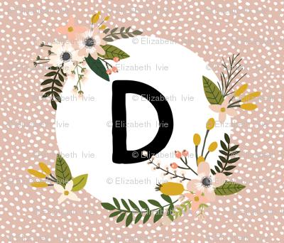 Blush Sprigs and Blooms Monogram Blanket // D