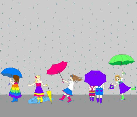 BOO! Caught in the Rain FQ fabric by boodesignsaustralia on Spoonflower - custom fabric