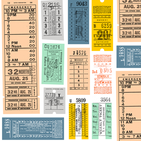 Ticket to Ride (Midi) || vintage ephemera bus train subway tickets uk Europe London British fabric by pennycandy on Spoonflower - custom fabric