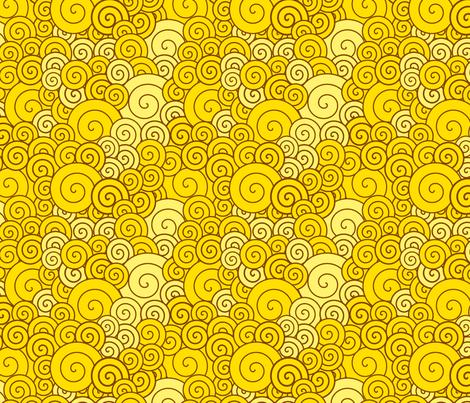 Yellow spirals fabric by suziedesign on Spoonflower - custom fabric