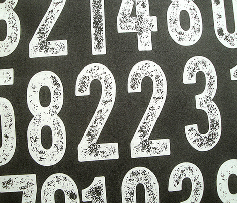 Random Number Generator (White on Black) || rubber stamp letterpress texture numbers distressed wood type punk emo photocopy
