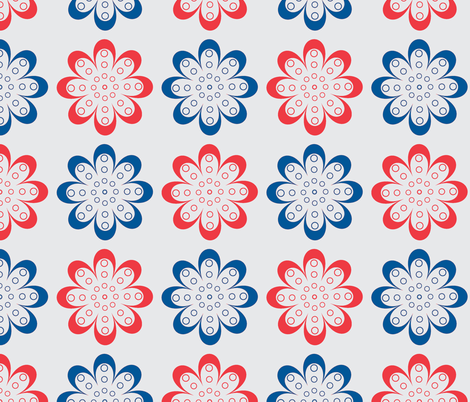 Red and blue line flowers fabric by suziedesign on Spoonflower - custom fabric