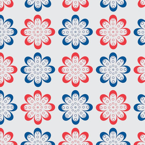 Red and blue line flowers