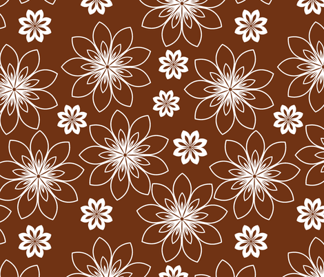 stylized white flowers  fabric by suziedesign on Spoonflower - custom fabric