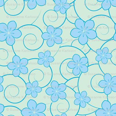 blue flowers and blue swirls