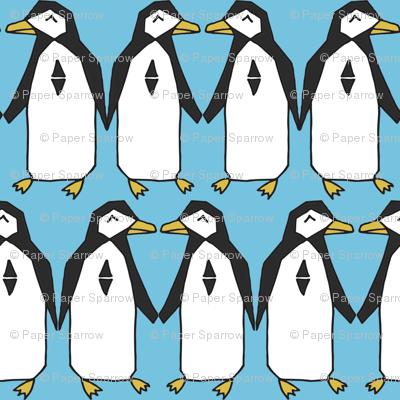 Penguin rows // blue penguins birds bird antarctic kids nursery baby winter
