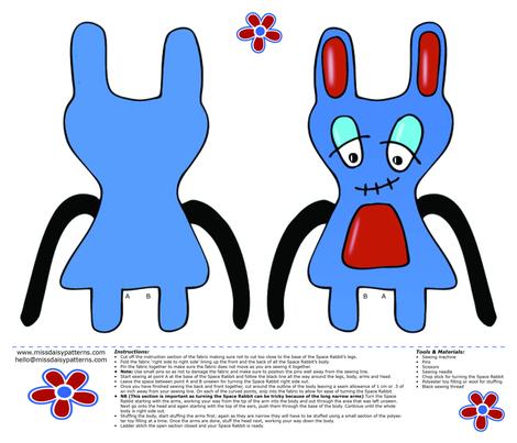Space Rabbit fabric by missdaisypatterns on Spoonflower - custom fabric