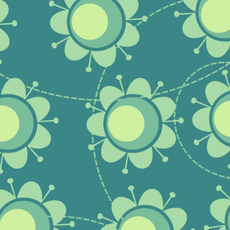 Seagreen flowers fabric by suziedesign on Spoonflower - custom fabric