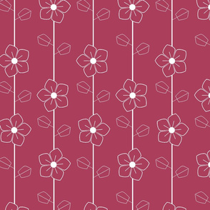 White retro flowers on red