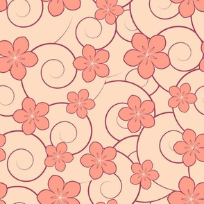 pink flowers and red swirls