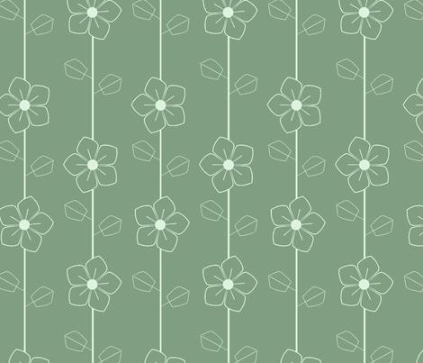 Green retro flowers fabric by suziedesign on Spoonflower - custom fabric