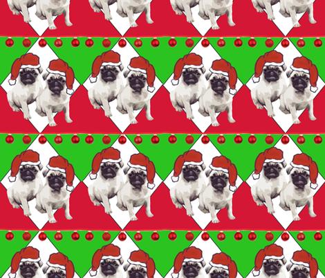 Pug Christmas fabric fabric by dogdaze_ on Spoonflower - custom fabric