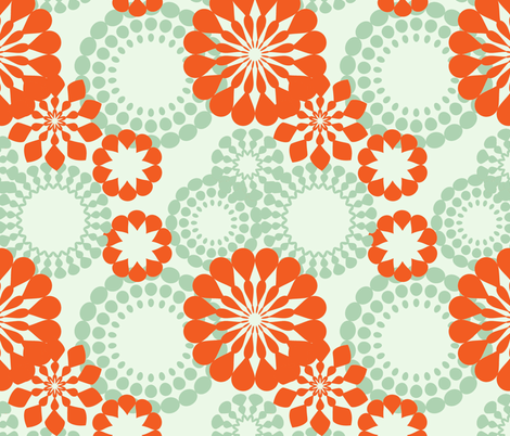 retro flower pattern fabric by suziedesign on Spoonflower - custom fabric