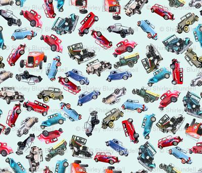Ditsy vintage cars- tiny
