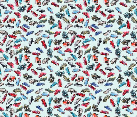 Ditsy vintage cars- tiny fabric by koalalady on Spoonflower - custom fabric