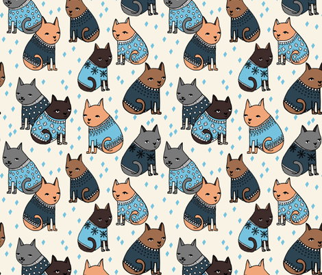 cats in sweaters // holiday ugly christmas sweater design in blue for cat men and cat dads fabric by andrea_lauren on Spoonflower - custom fabric