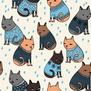 cats in sweaters // holiday ugly christmas sweater design in blue for cat men and cat dads