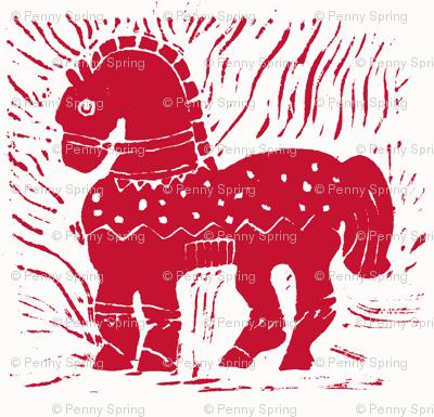 Bright Red Pony on White