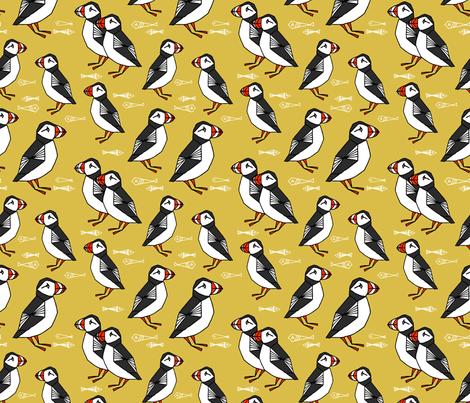 puffin // puffins birds mustard yellow birds scotland  fabric by andrea_lauren on Spoonflower - custom fabric