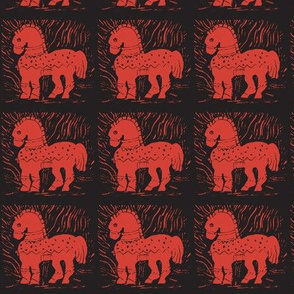 Bright Red Pony on Black
