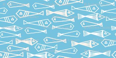 fish // geo fish geometric baby blue soft blue fish and cream