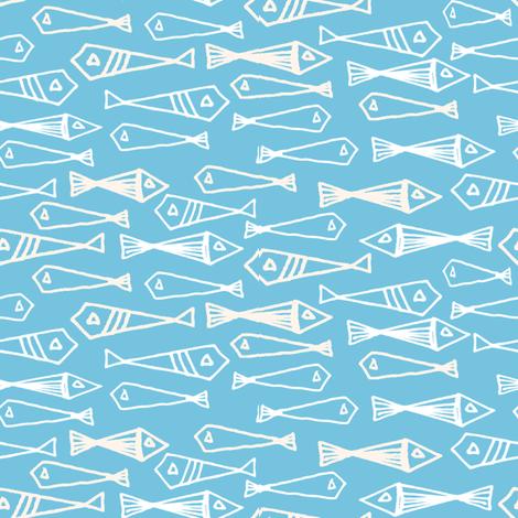 fish // geo fish geometric baby blue soft blue fish and cream fabric by andrea_lauren on Spoonflower - custom fabric