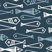fish // blue fishes blue and white fish design