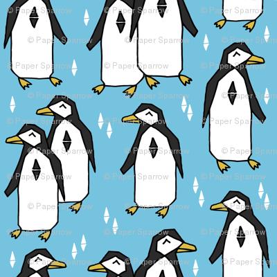 penguins // penguin bird pingu birds blue pale blue kids nursery baby winter