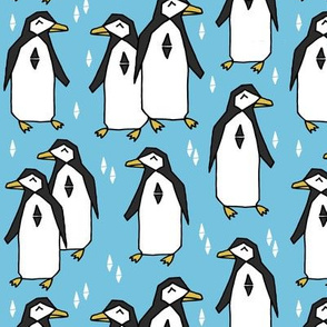 penguins // penguin bird pingu birds blue pale blue kids nursery baby winter