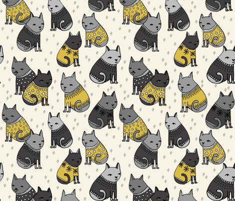 cats in sweaters // mustard and grey holiday christmas sweaters illustration in repeating pattern print  fabric by andrea_lauren on Spoonflower - custom fabric