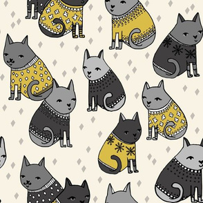cats in sweaters // mustard and grey holiday christmas sweaters illustration in repeating pattern print