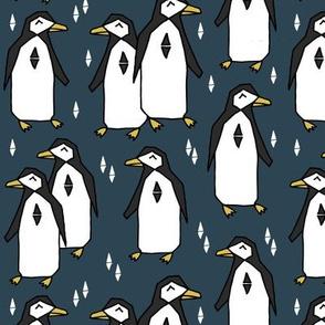 penguin // blue navy blue penguins pingus kids nursery baby
