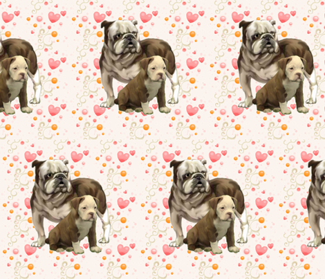 bulldog_mom_and_baby fabric by dogdaze_ on Spoonflower - custom fabric