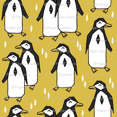 penguins // mustard yellow penguin pingu kids nursery baby bird birds