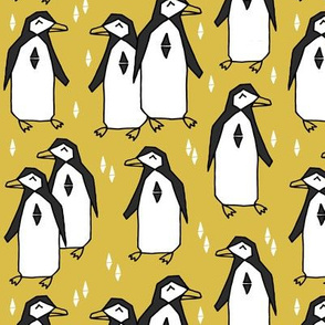 penguins // mustard yellow penguin pingu kids nursery baby bird birds