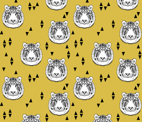 Tiger - White/Mustard by Andrea Lauren fabric by andrea_lauren on Spoonflower - custom fabric