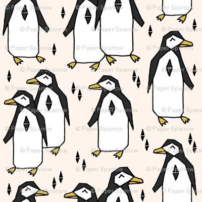 penguin // champagne cream background birds bird penuins antarctic winter