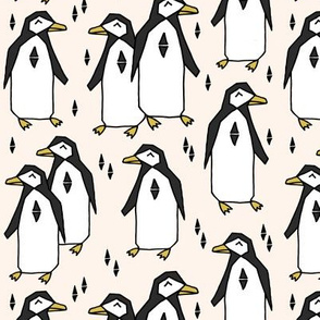 penguin // champagne cream background birds bird penuins antarctic winter