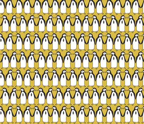 penguins // mustard yellow bird birds penguins antarctic kids designs fabric by andrea_lauren on Spoonflower - custom fabric