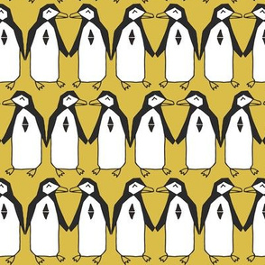 penguins // mustard yellow bird birds penguins antarctic kids designs