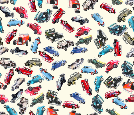 Ditsy vintage cars fabric by koalalady on Spoonflower - custom fabric