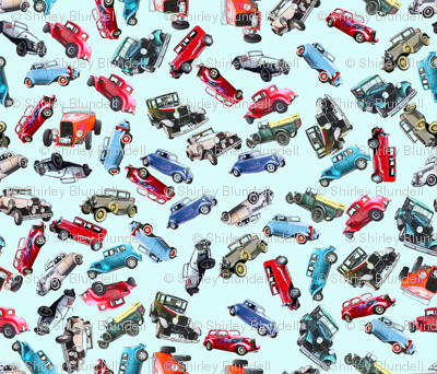 Blue ditsy vintage cars3