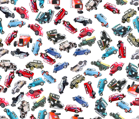 Ditsy vintage cars 1 fabric by koalalady on Spoonflower - custom fabric