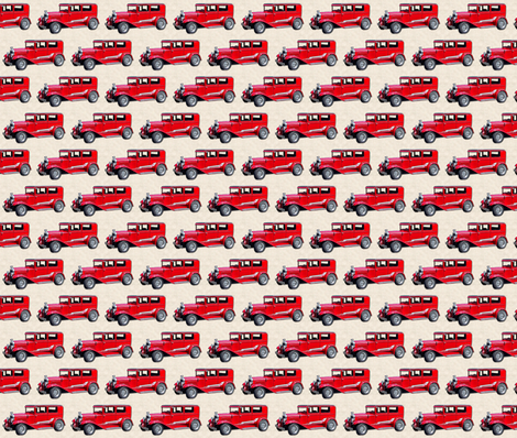 vintage car-4  red small fabric by koalalady on Spoonflower - custom fabric